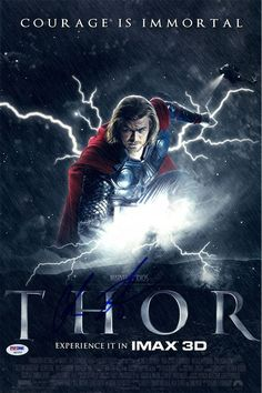 Chris Hemsworth Signed 12x18 Thor Courage Movie Poster Photo (PSA/DNA)