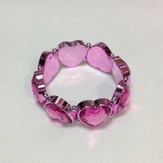 Jewel Heart Bracelet in Pink - Lolita Desu Heart Bracelet, Bracelets, Jewels, Pink, Fashion, Moda, Bijoux, Fashion Styles, Gemstones