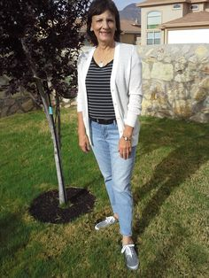 """Day 13 of the Style Me Challenge, 4/26/2014 Take me out to the ballgame!  Loft skinny, cropped jeans, Old Navy tee and cardigan...statement necklace that reads """"Time to Read"""" from Etsy, Target tennies."""