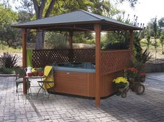 Hot Tub Privacy Walls but leave roof off or pergola instead Hot Tub Gazebo, Hot Tub Backyard, Backyard Canopy, Garden Gazebo, Diy Garden, Backyard Patio, Backyard Landscaping, Landscaping Ideas, Wedding Backyard