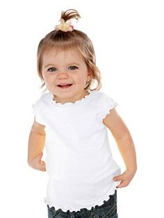 Kavio Infants Lettuce Edge Scoop Neck Cap Sleeve Top White 12M * Details can be found by clicking on the image.