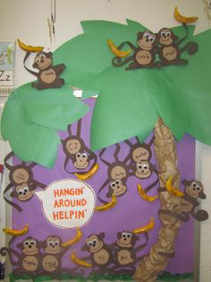 "our helper board to go with the jungle theme for this year... ""Hangin' Around Helpin'"" - each child made their own monkey and wrote their names on the belly, I bought dollar store bananas and painted the jobs on them, we rotate the bananas weekly!"