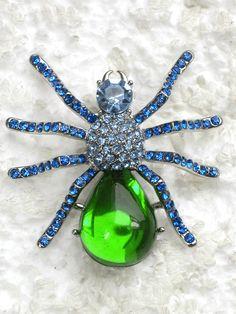 spider brooch - green & blue