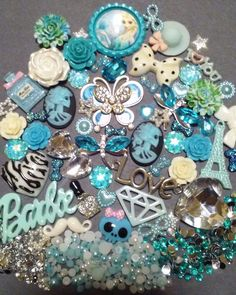 Blue Bling Butterfly Cabochon Kawaii Lot DIY decoden Phone kit resin flatback US #Unbranded