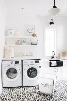 laundry room furniture. White Laundry Room With Shiplap Walls And Cement Floor Tile. Bright Furniture