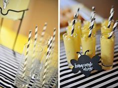 Black and white striped straws with yellow shots