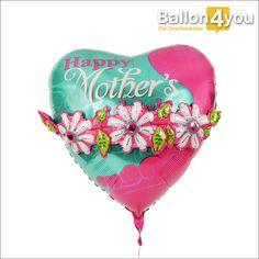 Muttertagsballon mit aufgesetzten Blumen       Alles Gute zum Muttertag, das wünscht dieser farbenfrohe Herzballon. Die Besonderheit besteht in den aufgesetzten Blüten und Blättern, die ebenfalls mit Luft bzw. Helium gefüllt sind. Der große Luftballon schwebt aus seinem Karton empor und überbringt die frohe Botschaft. Für die Mama zum Muttertag nur das Beste. Gern legen wir noch eine Grußkarte und etwas Schokolade bei.