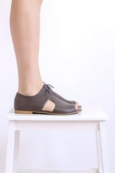 Last pair 40% off Gray Leather Sandals Open Toe Flat summer shoes with laces , handmade ADIKILAV