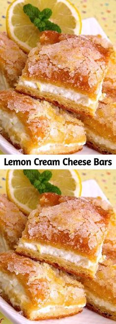 Lemon cream cheese bars are a variation of the traditional lemon bars, made with.Lemon cream cheese bars are a variation of the traditional lemon bars, made with crescent roll dough and a lemony cream cheese filling. This recipe is wonderful Lemon Cream Cheese Bars, Cream Cheese Desserts, Cream Cheese Filling, Lemon Bars, Lemon Desserts, Lemon Recipes, Köstliche Desserts, Dessert Recipes, Easter Recipes