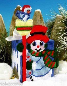 Design Works Plastic Canvas Kit Tissue Box - Snowman