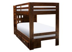 Turn your little ones' bedroom into a functional, comfortable and stylish haven with this Tommi II twin-over-twin step-storage bunk bed. Its unique, space-saving design boasts stairs to the top bunk with steps that double as drawers. Two underbed drawers provide even more storage space for toys and clothes.