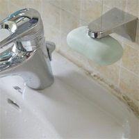 Suporte do sabão magnético adesão parede saboneteira pia banheiro usando cor prata