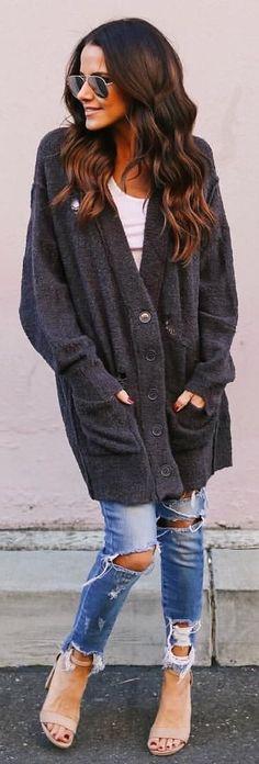 #winter #outfits black fur cardigan