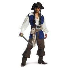 Disguise Mens Disney Pirates Of The Caribbean Captain Jack Sparrow Deluxe Costume Brown/Blue White @ niftywarehouse.com #NiftyWarehouse #Nerd #Geek #Entertainment #TV #Products