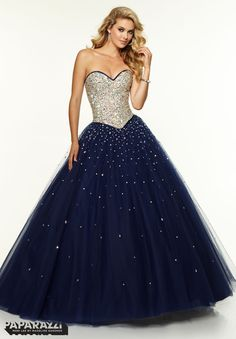 97107 Prom Dress / Gown Jeweled Beaded Bodice with Satin Trim on Tulle Ballgown Dark Blue