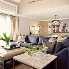 Modern Navy Blue Sectional Sofa Design Ideas, Pictures, Remodel, and Decor