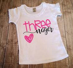 Third Birthday Shirt - Threenager Shirt - 3rd Birthday Outfit - Girls Birthday Top - 3 Year Old Birthday Shirt - Three Birthday Shirt by BandGVinylCreations on Etsy https://www.etsy.com/listing/463411421/third-birthday-shirt-threenager-shirt