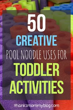 List of 50 fun and creative pool noodle toddler activities. Crafts and activities for educational, sensory and fine motor skill development. Fun Activities For Toddlers, Sensory Activities, Infant Activities, Educational Activities, Learning Activities, Kids Learning, Classroom Activities, Summer Activities, Motherhood Funny