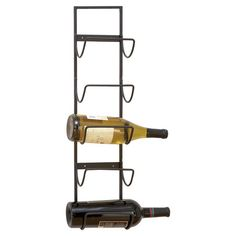 Wall-mounted wine rack with space for five bottles.  Product: Wine rackConstruction Material: IronCo...