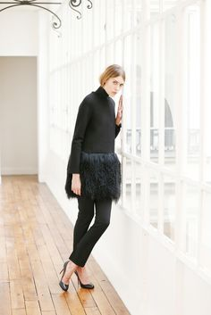 Martin Grant - Pre-Fall 2015 - fuzzy sheepskin hem on jacket over slim trousers.