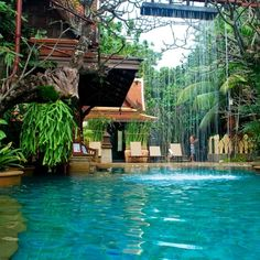 unique pool waterfall  #Pools #Pool #Summer #Outdoor #Relaxation