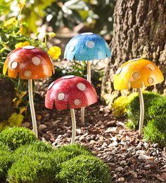 Glow-In-The-Dark Medium Mushroom Garden Stakes, Set of 4