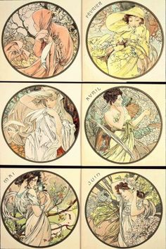 The Months (January-June) (1899)  These 6 medallions were used to illustrate the front cover of the magazine Le Mois Littéraire before being reproduced as a postcard.  Each medalion features a female figure posing against a natural background characteristic of the month depicted.
