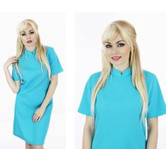 60s Mod Dress Aqua Blue Aline Mandarin by neonthreadsdesigns, $38.00