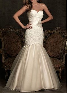 Elegant Exquisite Lace & Satin & Organza Mermaid Sweetheart Wedding Dress #Dressilyme
