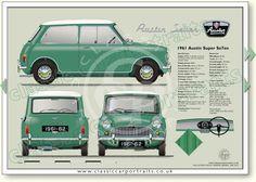 Austin Super Se7en 1961-62 classic car portrait print