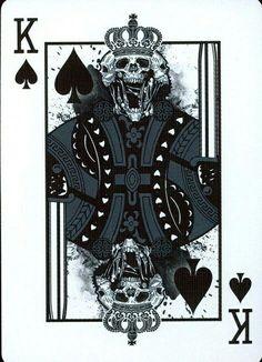 King of Spades Cool Playing Cards, Custom Playing Cards, King Of Spades, Joker Card, Desenho Tattoo, Skull Art, Deck Of Cards, Dark Art, Blackwork
