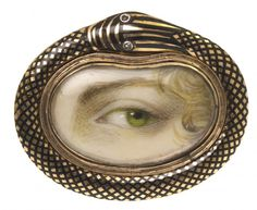 "Lover's Eye, from a House of Ghosts: ""A Lover's Eye was a miniature portrait depicting the eye of a spouse or loved one. Popular during the late Georgian period, many of these portraits were painted on ivory using watercolor paints and worn as bracelets, brooches, pendants or rings with elaborately decorated frames."""