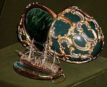 """An objet de vertu by excellence, Fabergé's """"Memory of Azov Egg"""" (1891), contains a ship model wrought of gold"""