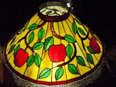 Stained Glass Apples Red Green Tan Slag Hanging Lamp Ceiling Shade Tiffany Styl