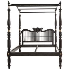 A perfect piece to decorate a room around; Indo-Dutch Ebony Bed with Canopy, 19th C.