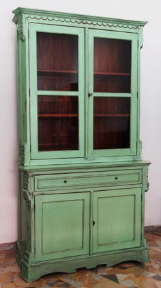 Old looking Cupboard lacquered in green