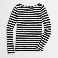 J.Crew Factory striped artist tee ($30) ❤ liked on Polyvore featuring tops, t-shirts, black striped tee, black top, j.crew, black t shirt and stripe tee