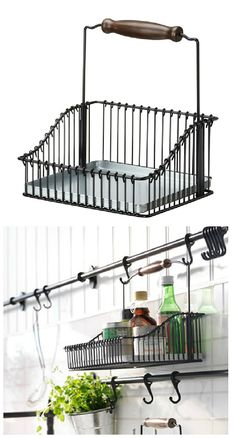 Seasoning and cooking oils, keep your countertop organized! FINTORP wire basket caddy can be hung on FINTORP rail using hooks, or kept freestanding on the table.