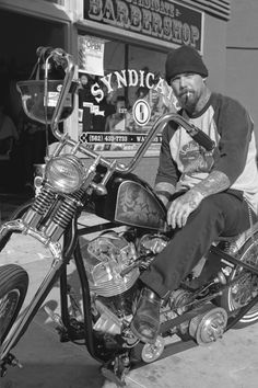 Biker and chopper back in the day
