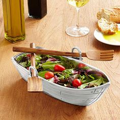 Look what I found at UncommonGoods: Row Boat Serving Bowl with Wood Serving Utensils for $65 #uncommongoods