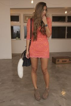Short, coral, lace dress with booties, love.