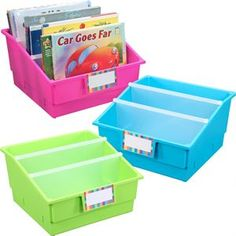 Picture Book Library Bins™ With Dividers - Neon