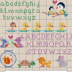 DMC free patterns--gold fish bowl, turtle, mouse, birds, bunny