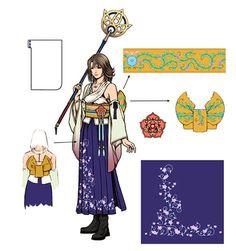 Yuna - FFX Yellow floral obi, white wrap top, black bra/bikini, floral purple pleated skirt, leath boots, kimono arm wraps, wand, hair braid, necklace, rings,