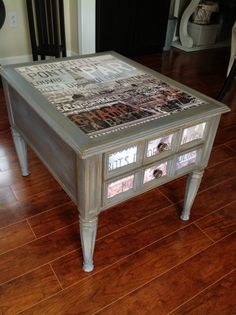 DIY: $25 Goodwill Table Upcycle - I'M GOING TO PARIS IN JUNE 2014 AND I THINK RE-DOING A SIDE TABLE LIKE THIS FOR MY SPARE ROOM WOULD BE A GOOD REMINDER OF MY TRIP.