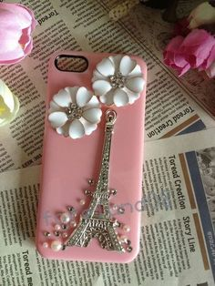 Best Diamond Paris Eiffel Tower Daisy Pink Hard Cover Case for iPhone 4 4G 4S | eBay