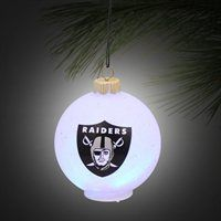Oakland Raiders LED Logo Plastic Ball Ornament