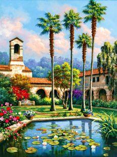 Palm Reflection Poster Print by Sung Kim x House Landscape, Landscape Art, Landscape Paintings, Belle Image Nature, Tile Murals, Z Arts, Modern Landscaping, Living Room Art, House Painting
