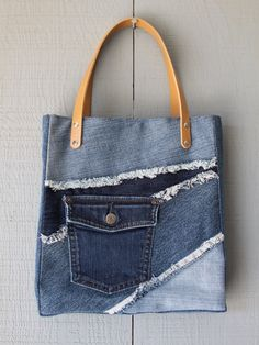 Denim Frayed Patch Tote with Outside Pocket by AllintheJeans