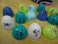 Here's an activity where students match mixed numbers to improper fractions using plastic egg halves! I would probably put some sort of mark on the opposite side so it could be self checking as well! Fraction Activities, Math Resources, Math Games, Math Strategies, Fun Games, Math Classroom, Classroom Activities, Classroom Ideas, Future Classroom
